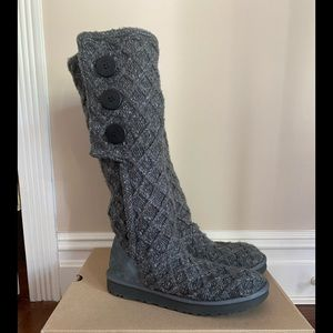 UGG Women's Gray Lattice Cardy Boots New NWOB